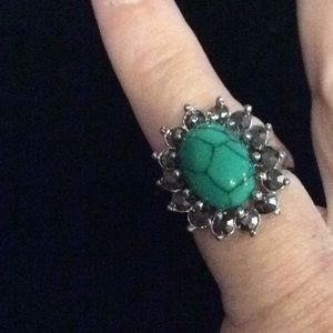Howlite stone dyed ring in turquoise size 7